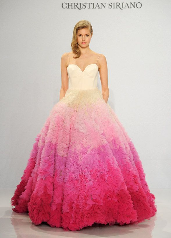 This gorgeous bright pink and white ombre wedding dress is perfect ...