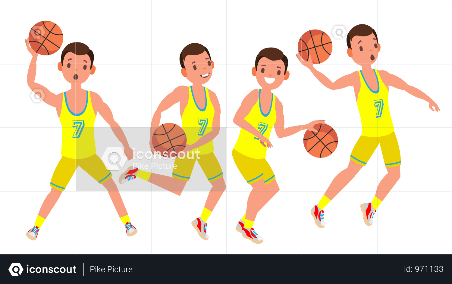 Premium Modern Basketball Player Man Vector Sports Concept Running Jump With Ball Sport Game Competition Isolated On White Cartoon Character Illustration Il Basketball Players Competition Games Character Illustration