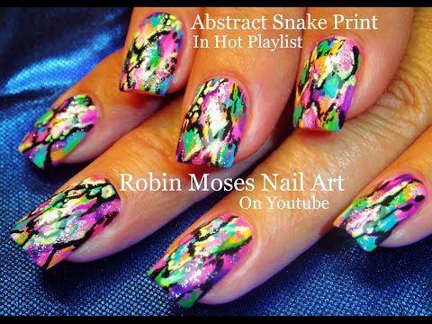 Nail Art Snake Print Nails Abstract Rainbow Nail Design Tutorial