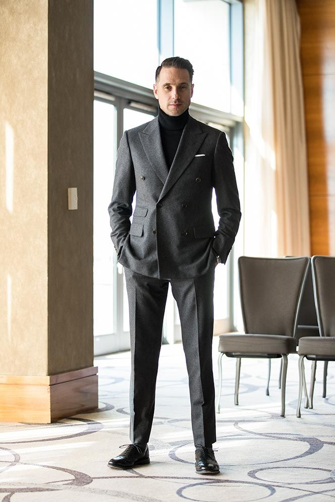 440e447152 An alternative for black tie attire with the dress code is black tie  optional. How to wear a double-breasted grey suit with a turtleneck for a formal  event.