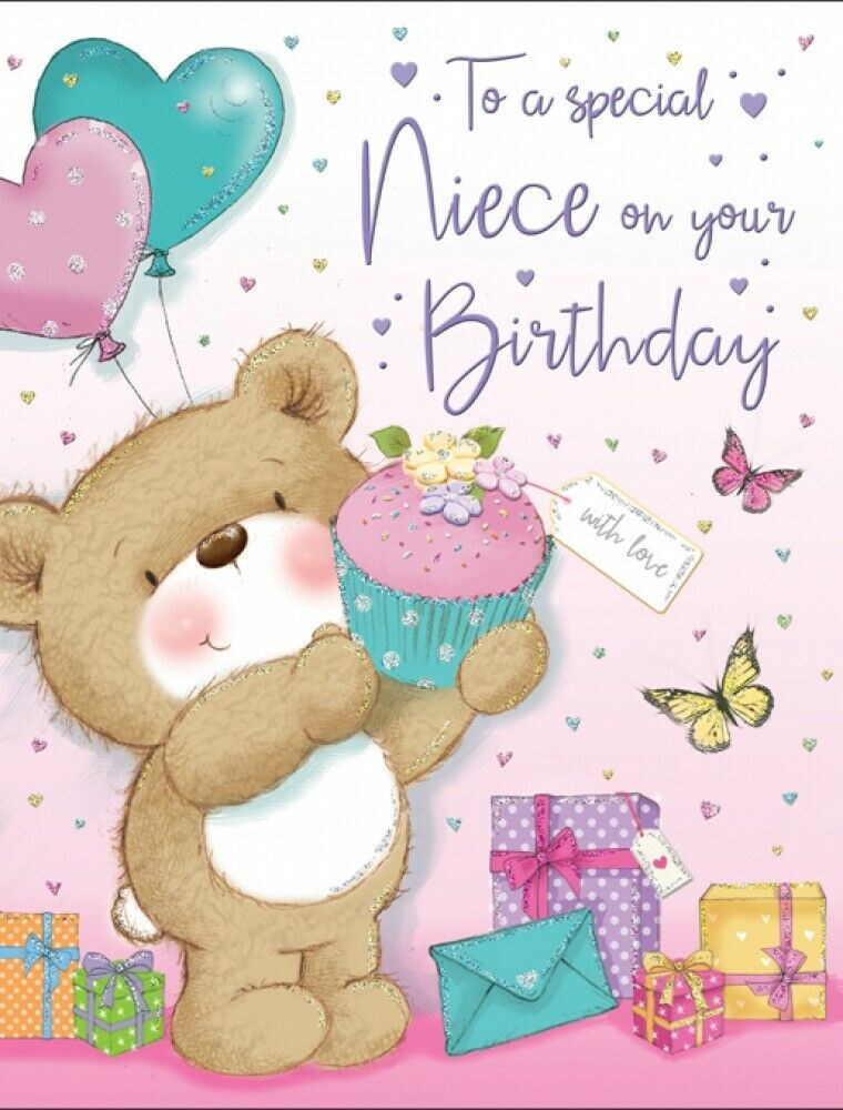 To A Special Niece Birthday Card Bear With Cupcake