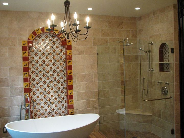 Art Deco Master Bath Transforms Into A Spanish Hacienda Retreat In 2020 Hacienda Bathroom Fireplace Design Tile Design
