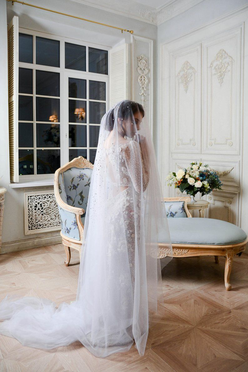 Cathedral Wedding Veil with Swarovski Crystals, Scattered