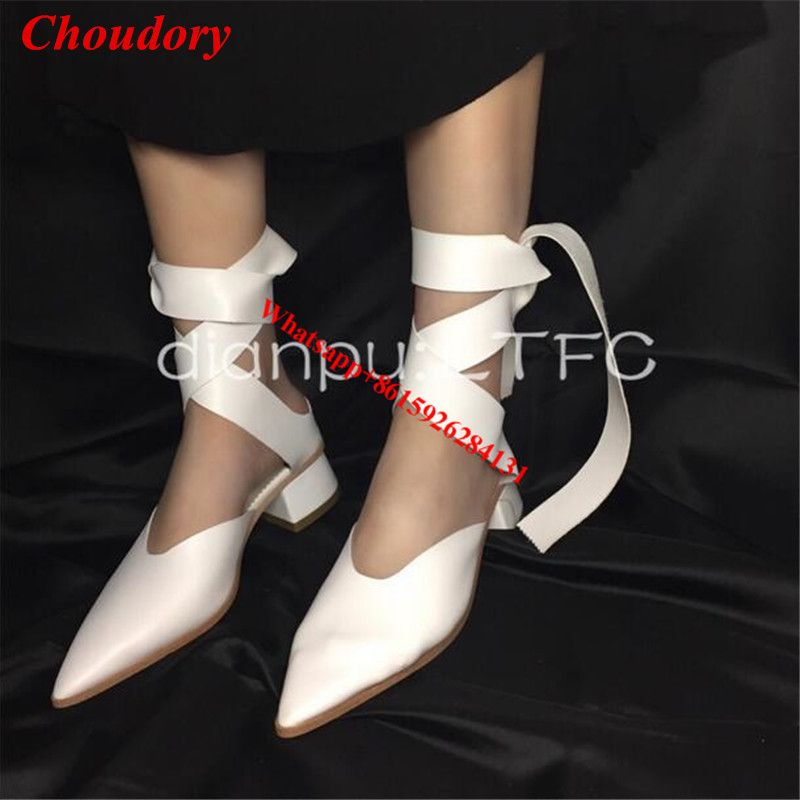 ==> [Free Shipping] Buy Best Black/White Cross Tied Ballet Pumps Fashion Pointed Toe Lace Up Med Chunky Heels Women Party Dress Stiletto Heels Pumps Shoes Online with LOWEST Price | 32819579569