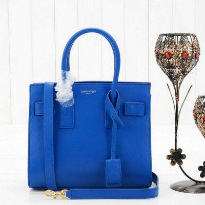 2f52dd063b13 2014 Yves Saint Laurent Mini Sac De Jour Tote 23668 in Cornflower Blue