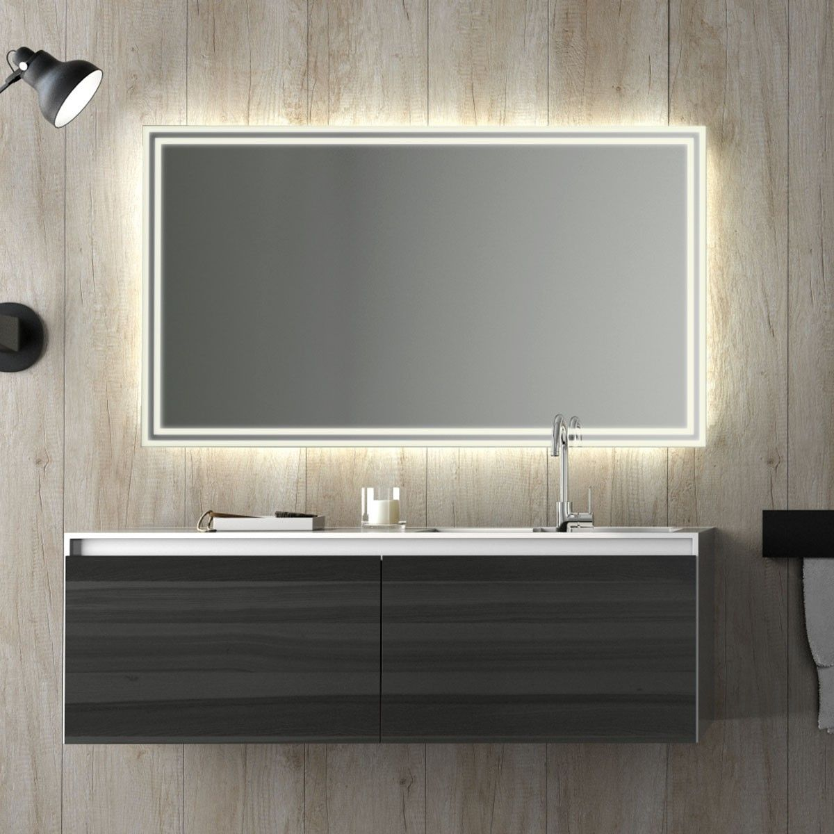 Design Badspiegel Mit Led Beleuchtung Wandspiegel Badezimmerspiegel Nach Maß Lichtspiegel Milsan Baeder Bathroom Lighting Mirror Und Bathroom