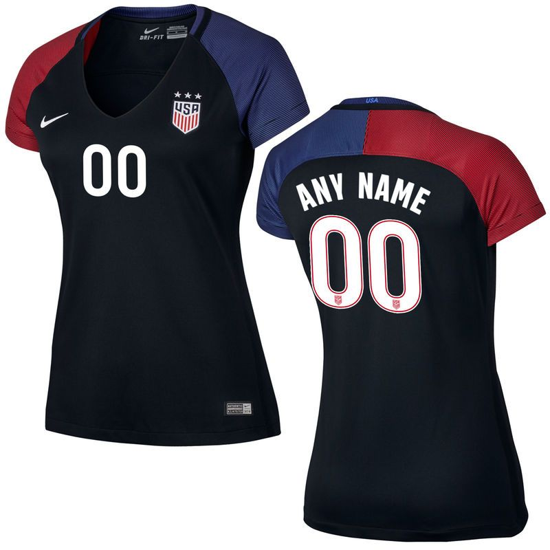 8fa9c9f0a US Soccer Nike Women s Away Replica Stadium Custom Jersey - Black Blue Red