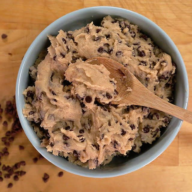 Edible Chocolate Chip Cookie Dough with Butter, Salt, Granulated Sugar, Brown Sugar, Applesauce, Nutmeg, All-Purpose Flour, Vanilla Extract, Mini Chocolate Chips. #chocolatechipcookiedough