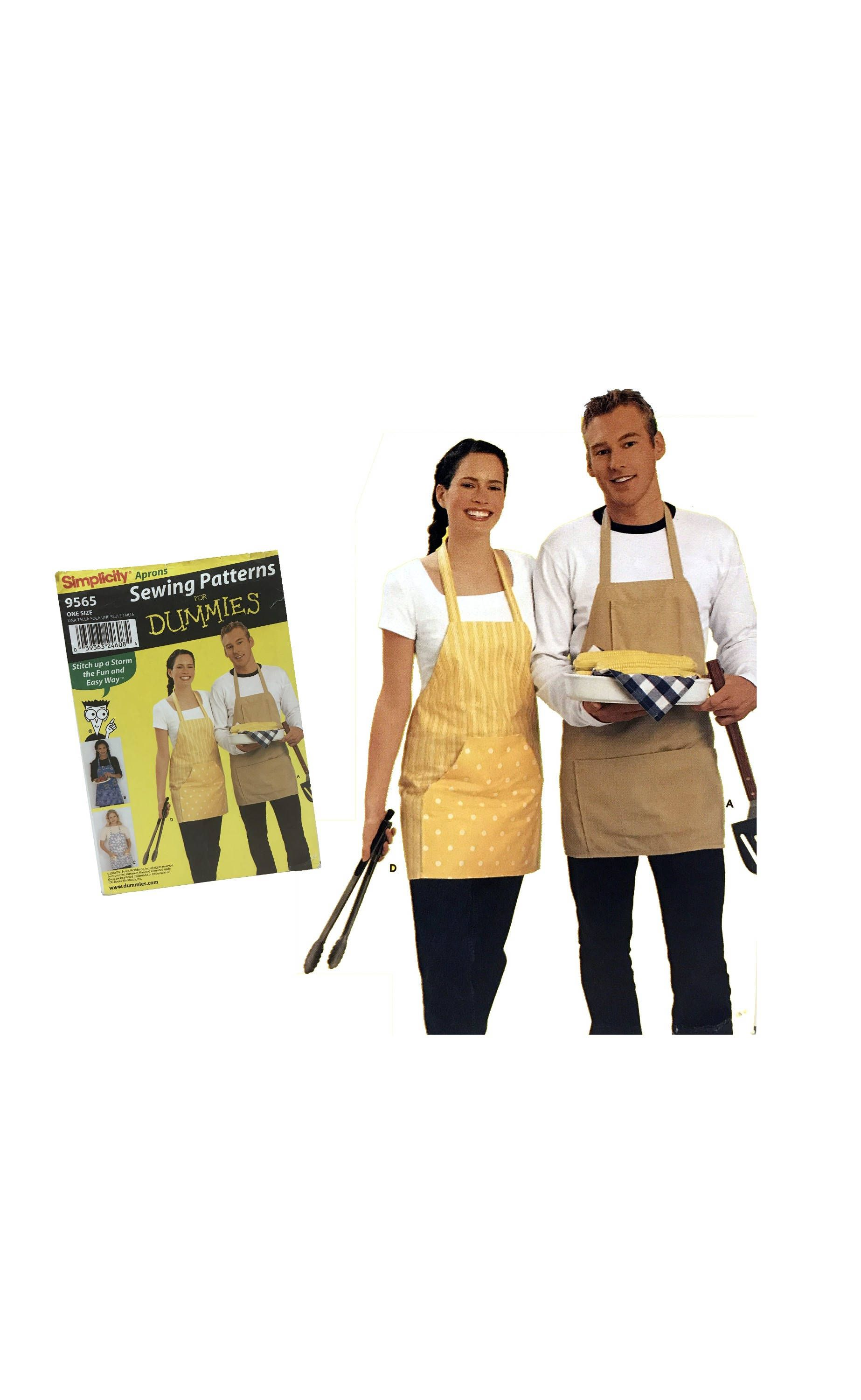 Adult Unisex Kitchen Apron Sewing Pattern For Dummies Simplicity 9565