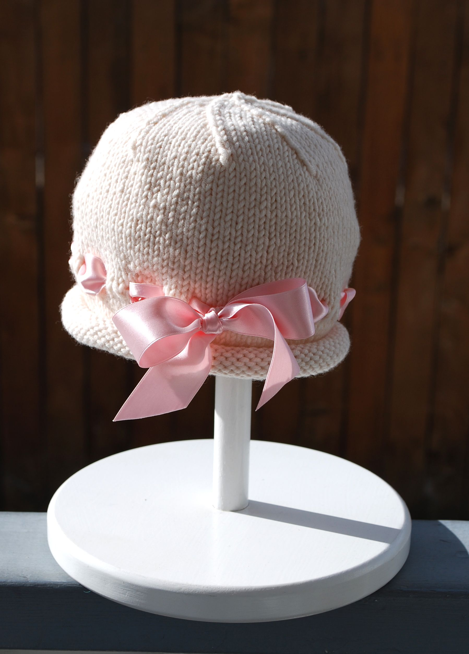 Ribbon Baby Bonnet Knitted Baby Patterns And Knits