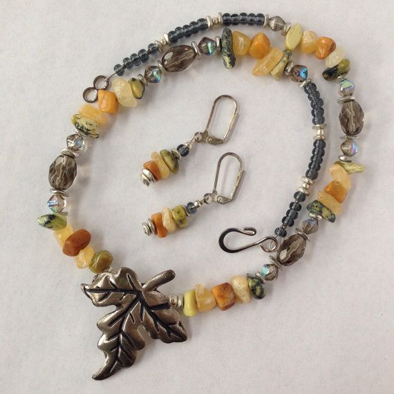 Natural stone glass beaded necklace and by LittleShopOfFrill