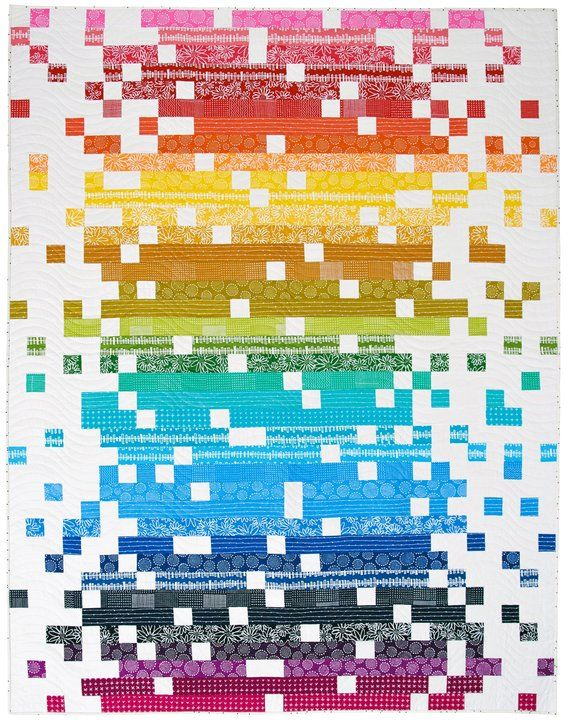Pixelated Quilt Paper Pattern is part of Pixel quilting, Patchwork quilts, Rainbow quilt, Quilt patterns, Pattern paper, Easy quilts - A paper pattern to make this striking modern rainbow quilt  IMPORTANT THIS LISTING IS FOR THE PAPER PATTERN ONLY  YOU ARE NOT BUYING A FINISHED PRODUCT   Finished quilt measures 60  x 78  Comprehensive pattern instructions include material requirements, cutting instructions, detailed steps with illustrations to make the quilt top, and finishing instructions  You may sell your items made from this pattern on a small scale