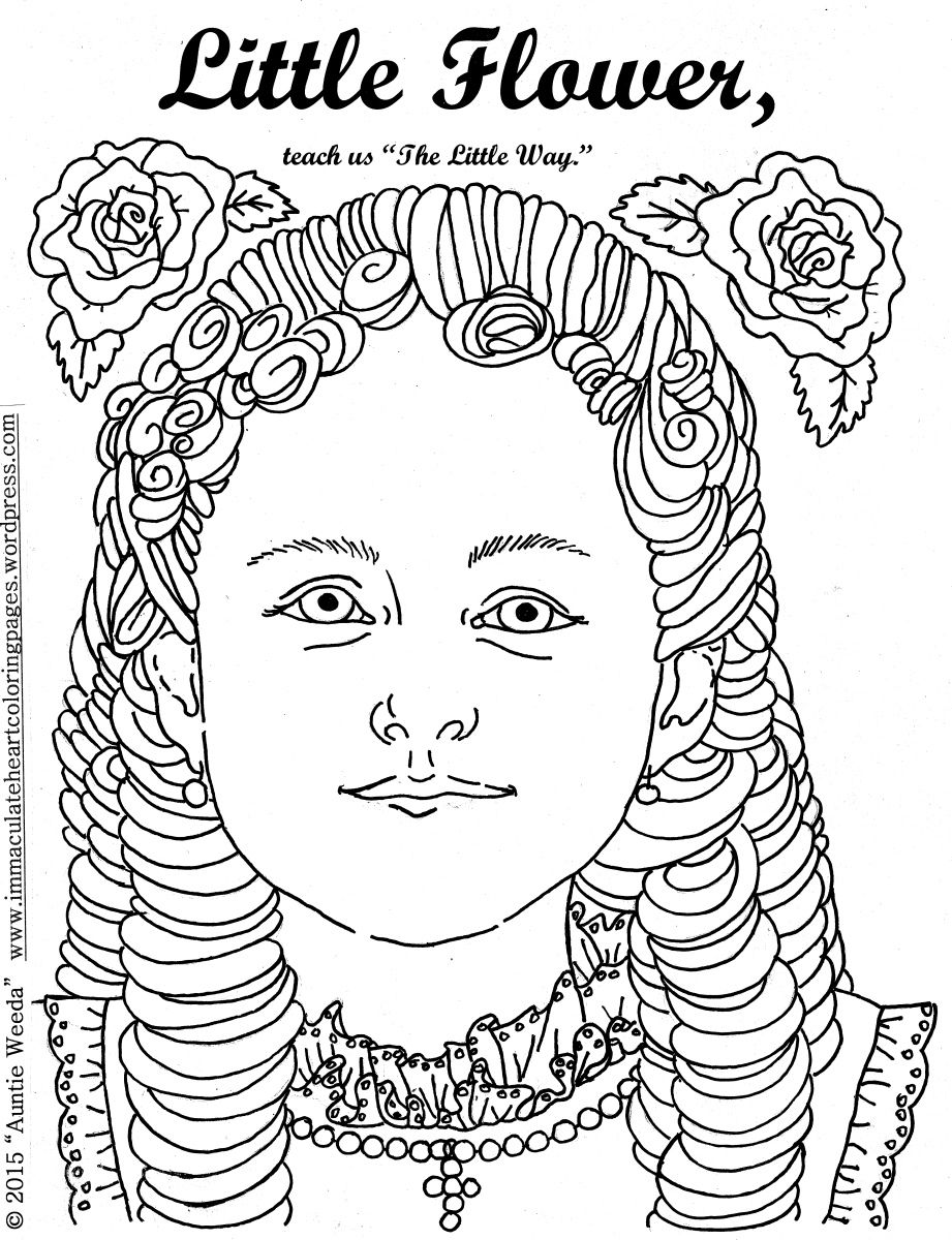 little flower saint therese of lisieux coloring page flower