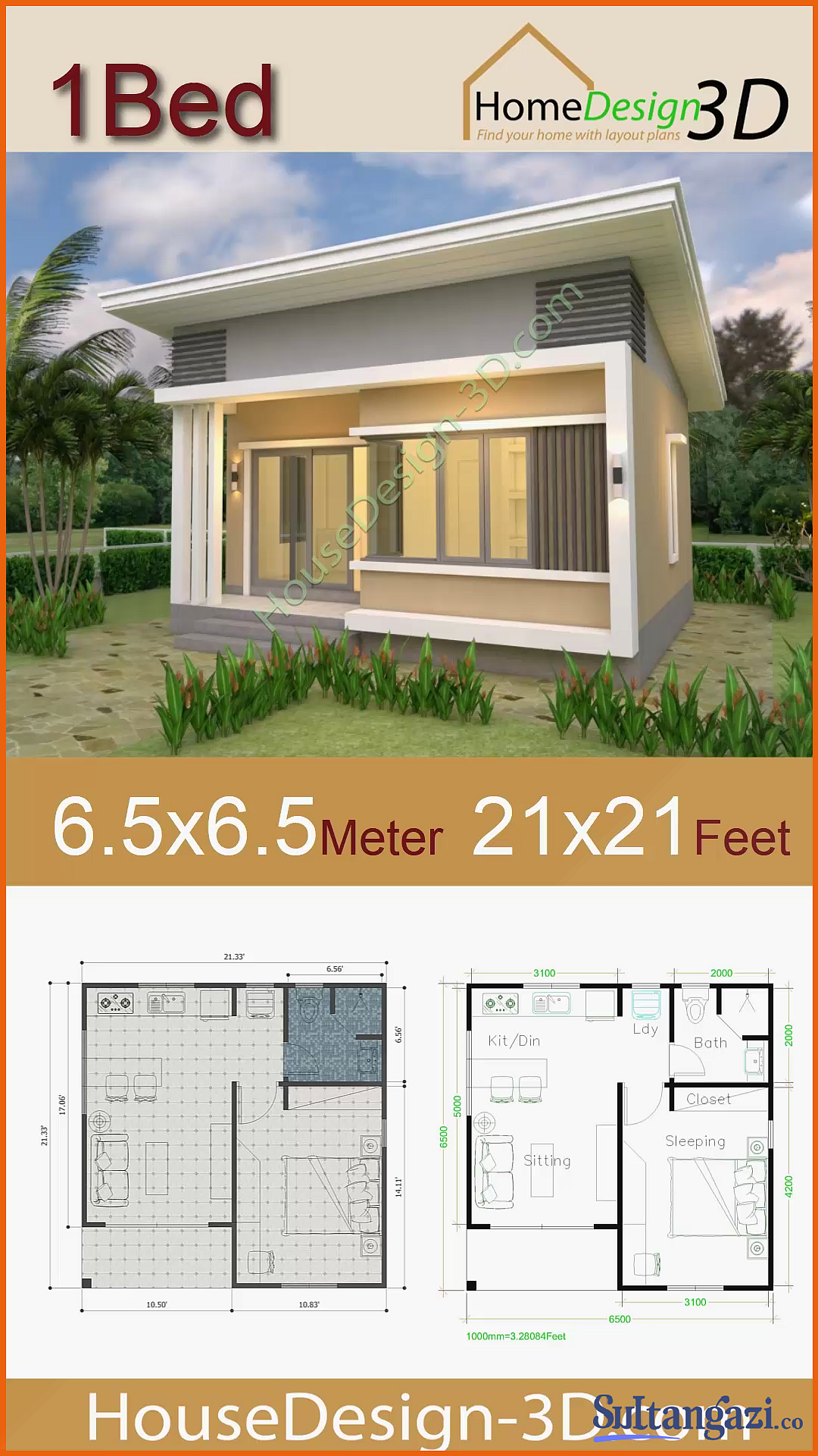 House Plans 21 21 Feet 6 5 6 5m Shed Roof House Plans 21 21 Feet 6 5 6 5m Shed Roof Samphoas Sophoat House Design 3d House Plans 21 21 F