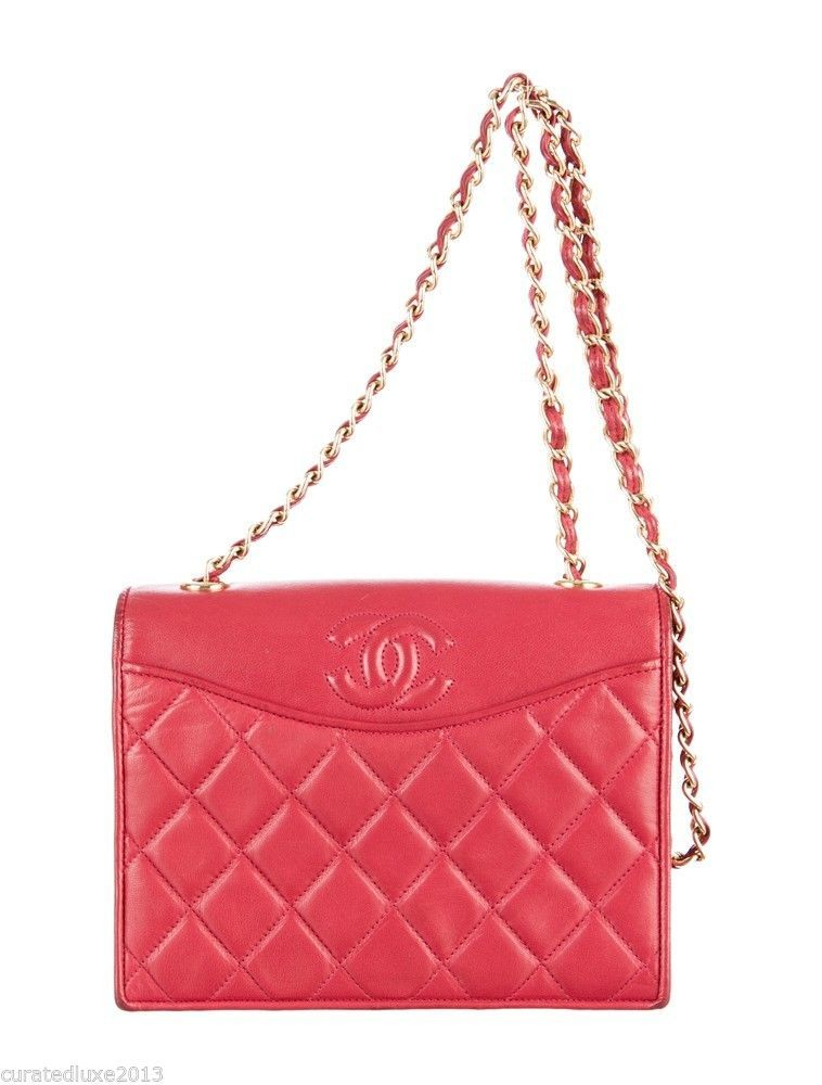 0a43457122a0 Authentic Vintage CHANEL Red Lambskin Shoulder Bag With Chain Strap GHW   CHANEL  ShoulderBag
