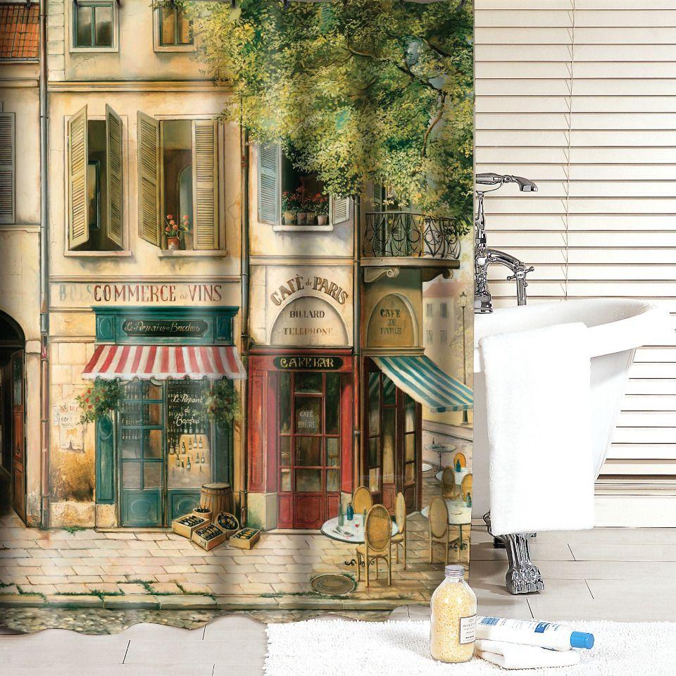 Aquarius Bath Fashions - Cafe de Paris Shower Curtain | Your ...
