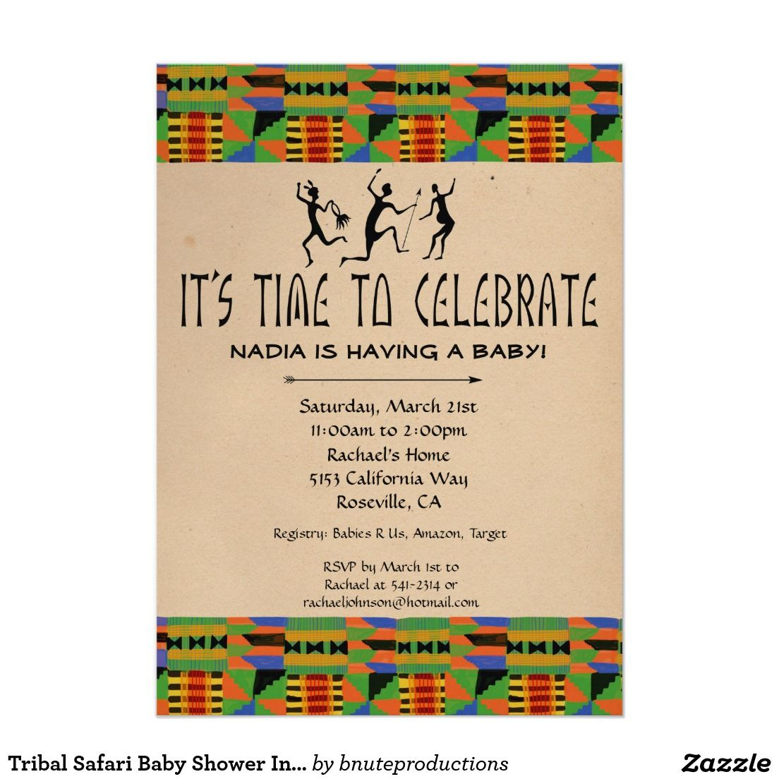 Tribal Safari Baby Shower Invite - Kente Cloth