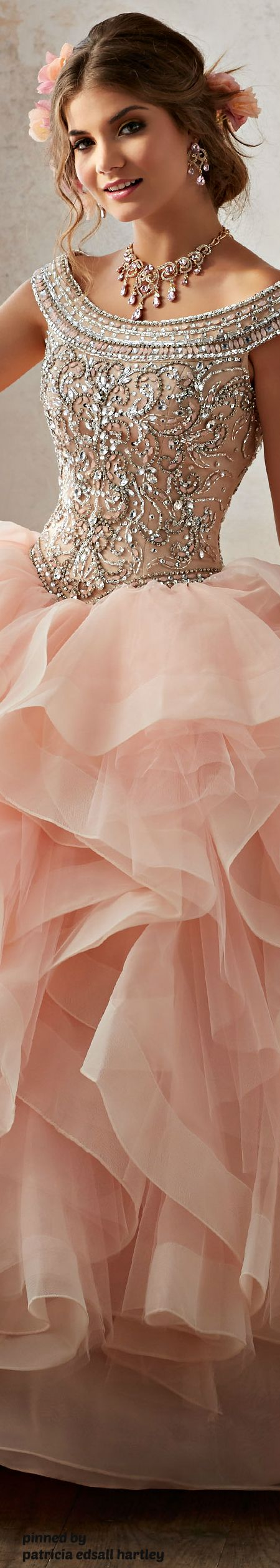 Beautiful blush wedding dress with crystal encrusted bodice cruise