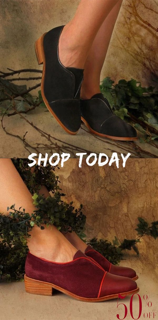 Vintage Color Collision Low Chunky Heels Slip-On Flats