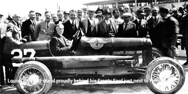 Louis Chevrolet Stand Proudly Behind His Fronty Ford Just Next To Henry Ford Ford Motor Ford Motor Company Ford Racing