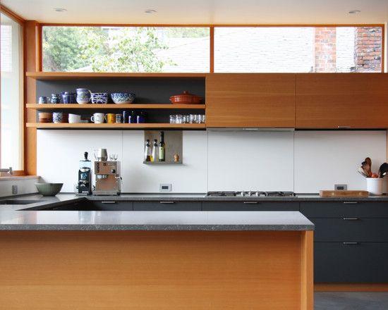 Contemporary Kitchen Design Ideas With Minimal Kitchen Design Also Long Kitchen Shelves Combine With Wooden Kitchen Cabinet Also G Kitchens Dining Kuche