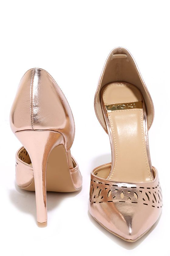 c352863cc Party perfection is in your future with the Glam Gala Rose Gold Cutout  Pumps! Metallic