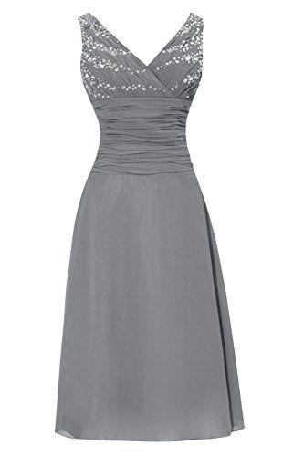 a0e4457ebb8 Dora Bridal V-Neck Chiffon Mother Of The Bride Dresses Tea Length Size 16 US