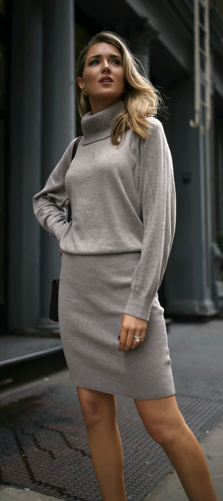 Grey long sleeve turtleneck sweater dress white leather booties