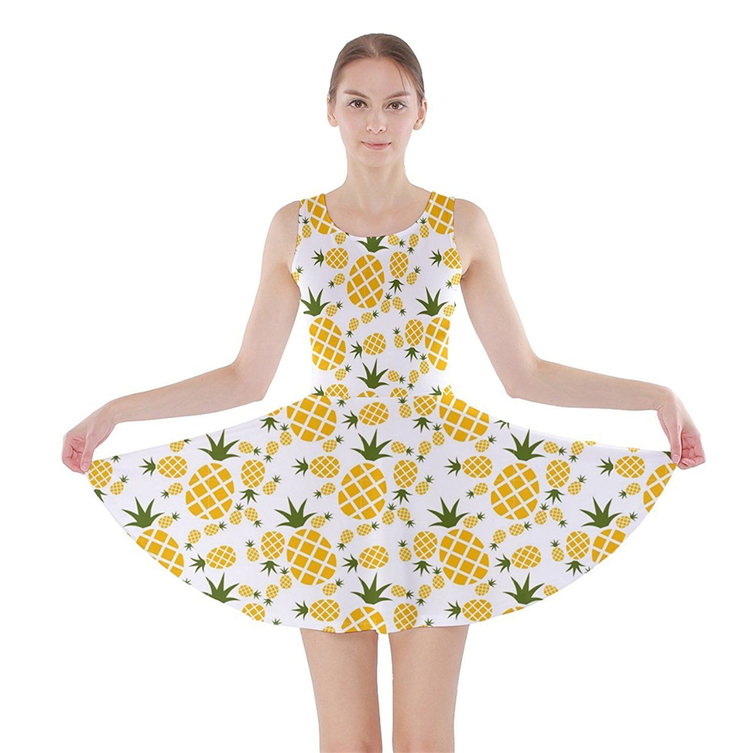 CowCow Womens Yellow Pineapple Pattern Skater Dress    Check out this great  product. ( 42001df20