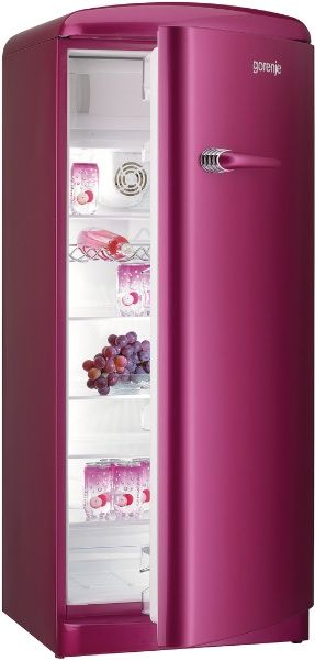 one of the many colored fridges from the Gorenje retro collection. my husband would just DIE!!! he loves pink