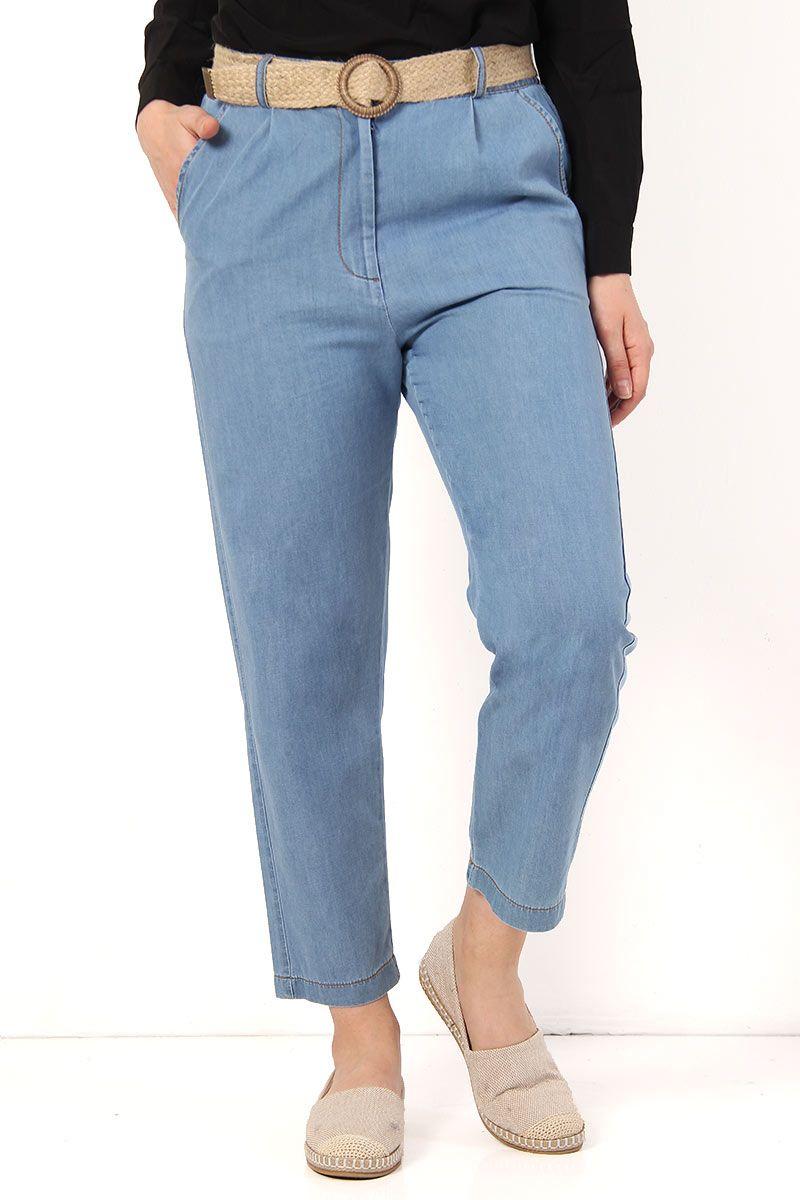 Hasir Kemerli Kot Pantolon Tsd4120 Acik Mavi 2020 Pantolon Kotlar Giyim