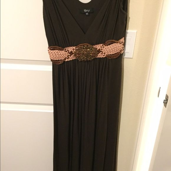 Brown dress with leather woven belt detail Brown dress with belt Sky Dresses Midi