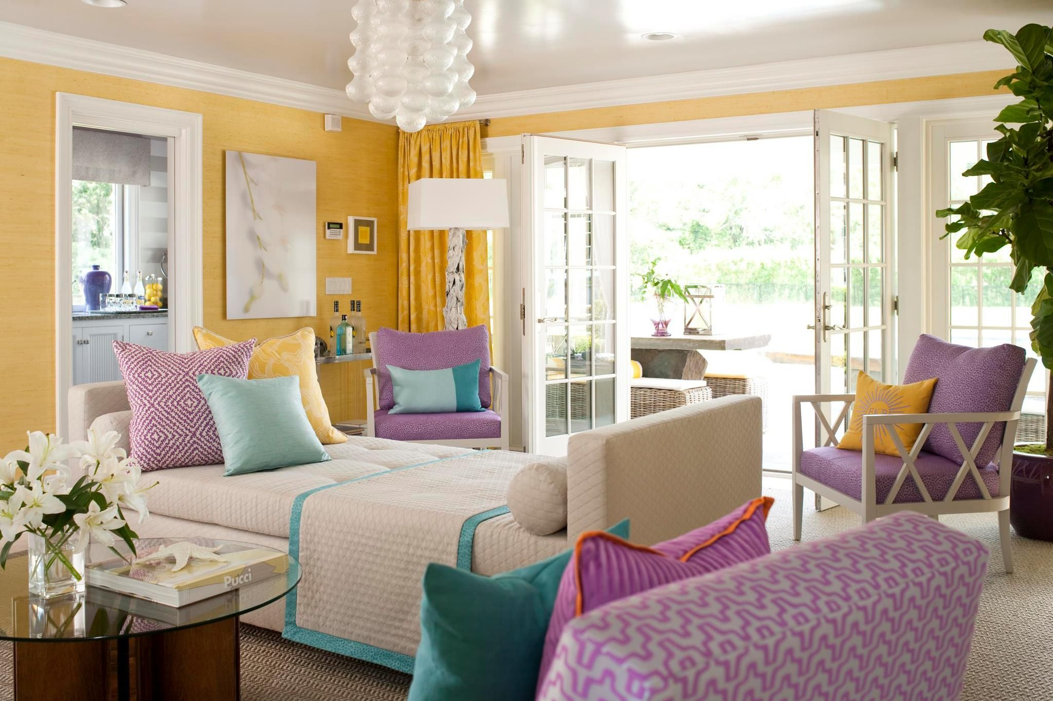 Yellow Turquoise And Purple Room By Designer Eileen Kathryn Boyd