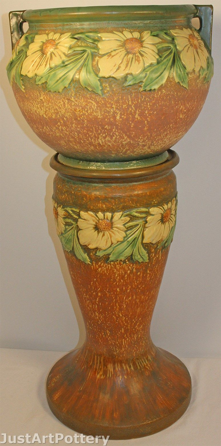 Roseville pottery dahlrose jardiniere and pedestal 614 10 from roseville pottery dahlrose jardiniere and pedestal 614 10 from just art pottery reviewsmspy