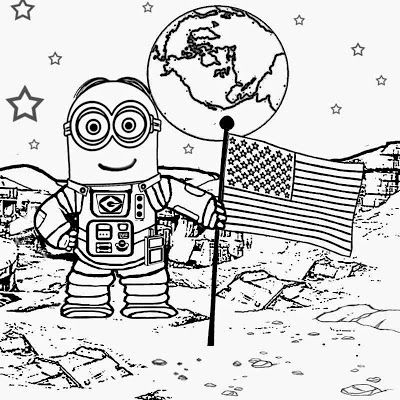 walking on the moon astronaut costume space man dave minion coloring pages to print despicable me - Despicable Coloring Pages Dave
