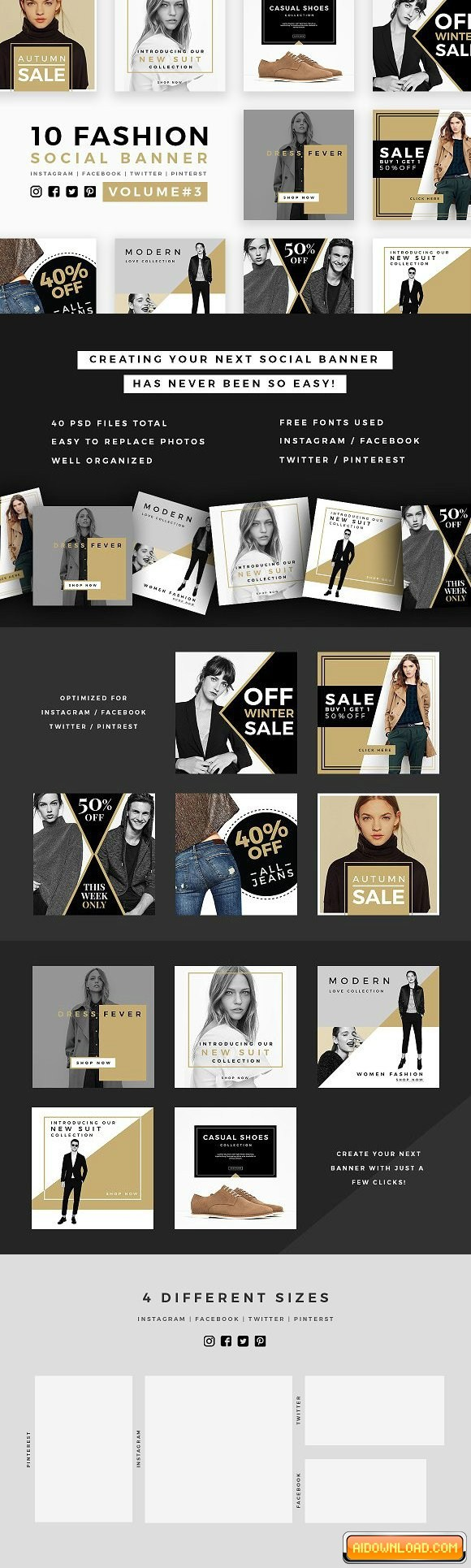 Fashion Social Banner Pack 3 Free Download | Free Graphic Templates ...