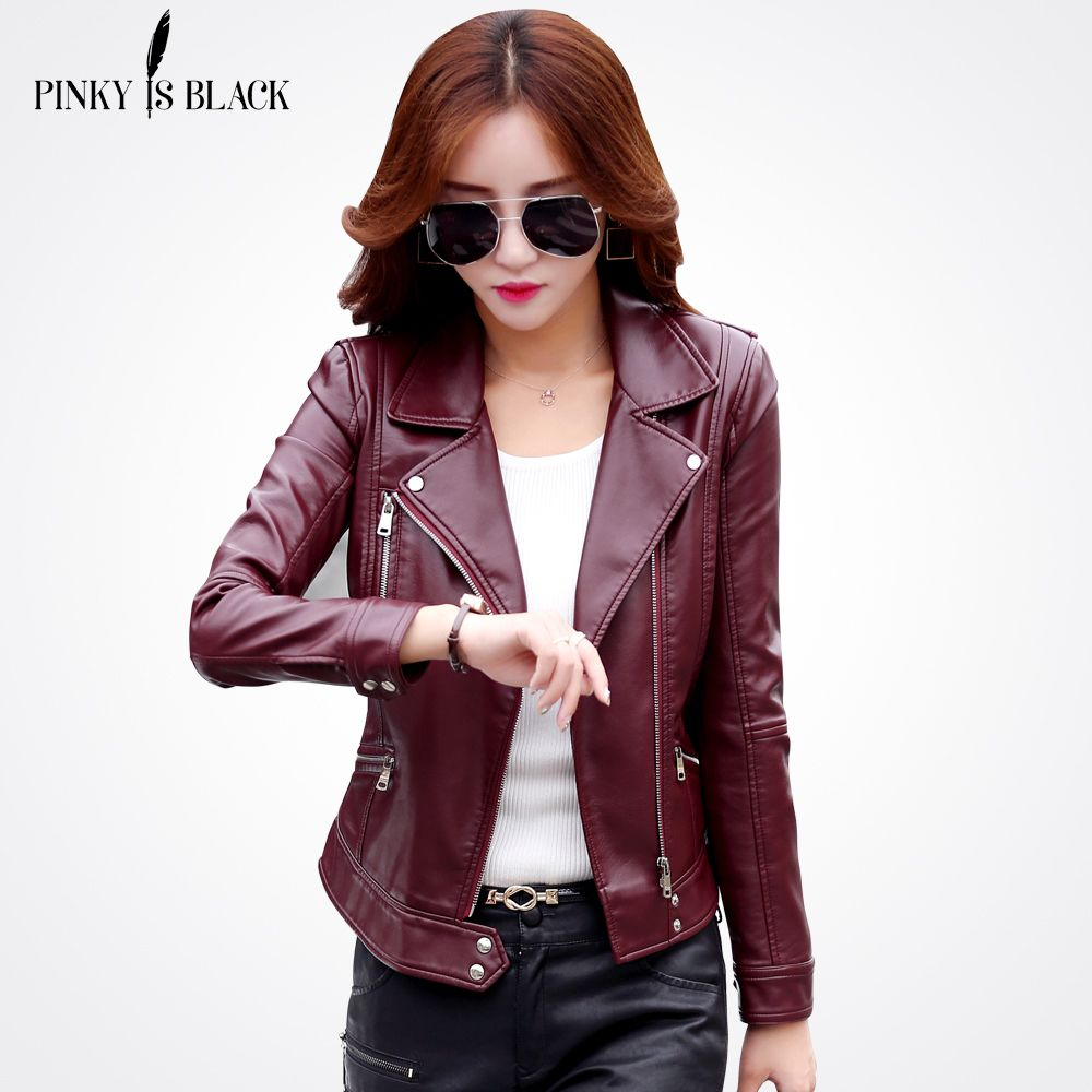 cd2ea11c23255 Plus Size S-3XL New Fashion 2017 Autumn Winter Women Leather Coat Female  Slim Short Leather Jacket Women s Outerwear