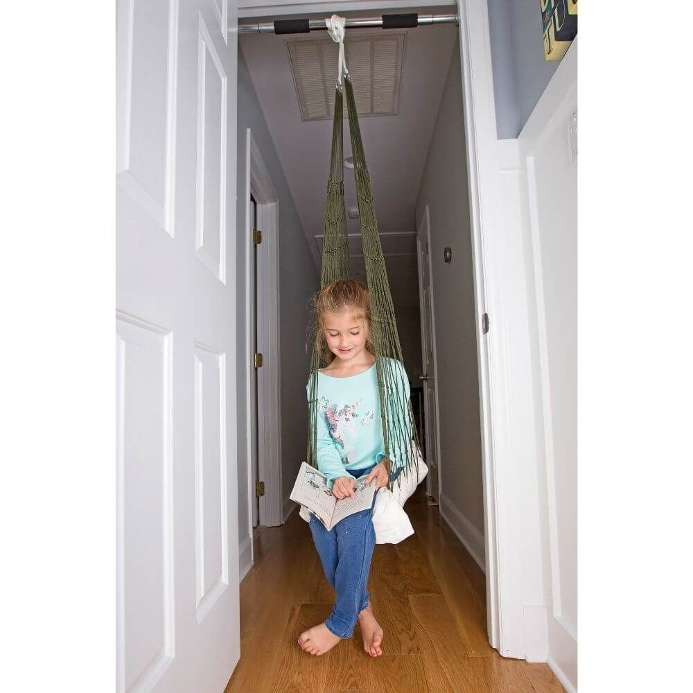 Easily mount your sensory swing without needing to drill holes in your ceiling or walls. Highly recommended for rental home and apartment setups. This carbon steel doorway mount installs in just minutes and can hold up to 220 pounds(99.8kg) when installed correctly with included installation nubs. (Ensure proper and secure installation and test before using for swinging.) Our doorway mount is expandable and fits in doorways anywhere from 25 to 33.4 inches wide. The diameter of the part that touc