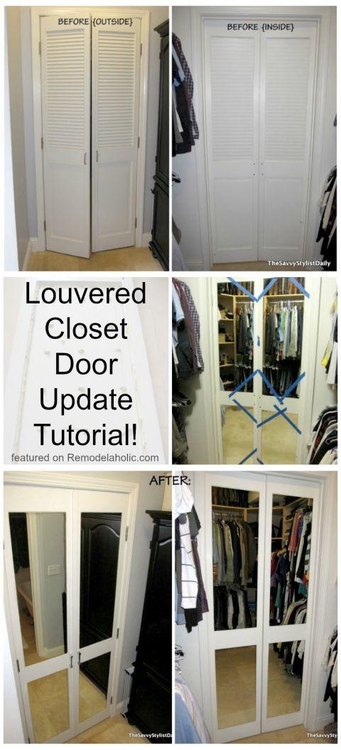 Louvered Closet Door Update Tutorial Mirror Closet Doors