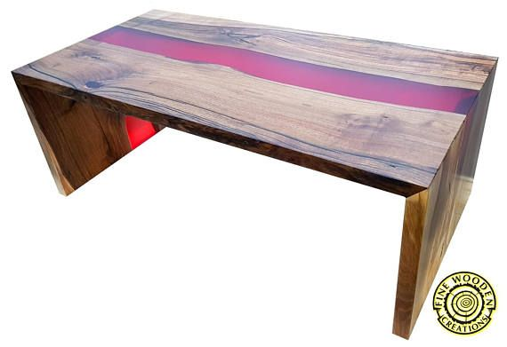 Double Waterfall River Coffee Table With Red Resin River Coffee