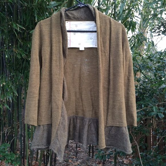 ANTHROPOLOGIE, mossy green cardigan the softest sweater with cute skirted bottom and two-tone fabric. 3/4 sleeves. small unnoticeable hole near left shoulder. size is XS but fabric stretches to fit S. Anthropologie Sweaters Cardigans