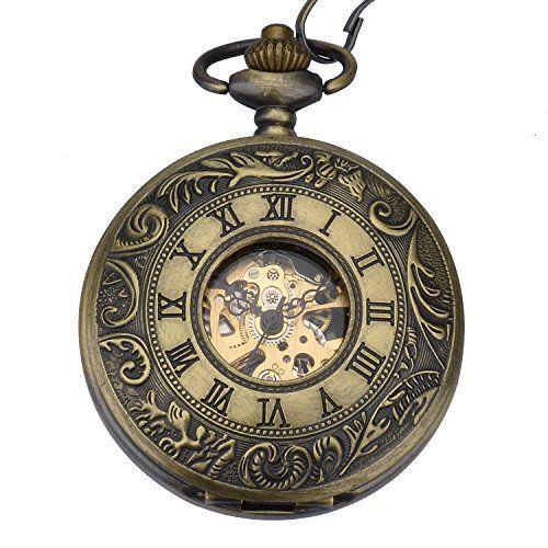 Reloj de Bolsillo Mecánico Zeiger Reloj de bolsillo Steampunk Esqueleto  Mecánico Cobre Gusset Estilo Retro Reloj 3b2a1eb7ff38