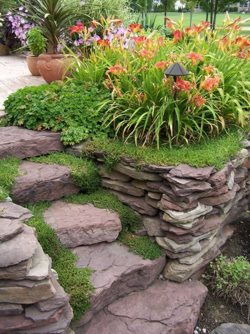 dry stack stone wall landscaping