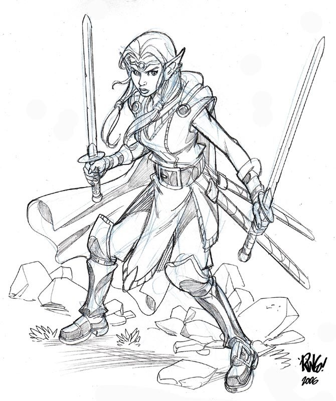Female Elf Warrior Drawings Sketch Coloring Page