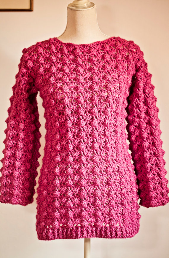 Crochet cardigan PATTERN , Ladies Popcorn Sweater
