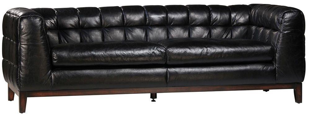87\'\' Black Chesterfield Top Grain Italian Leather Sofa ...