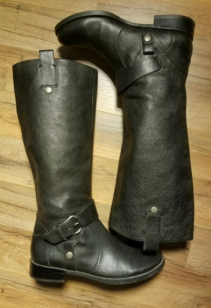 Cowgirl Riding Biker Boots Nine West Takedown Pebbled Grain Black Leather