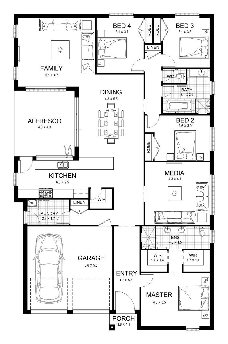 Aspect 28 Single Level Floorplan By Kurmond Homes New Home Builders Sydney Nsw House Plans Australia Home Design Floor Plans House Layout Plans