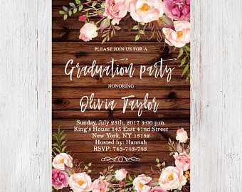 floral graduation party invitation template rustic wood pastel