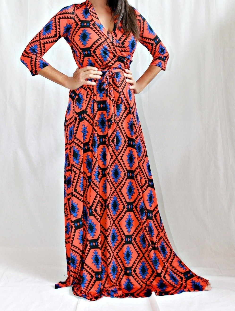 Long length long sleeve maxi coral aztec us hippie chic los